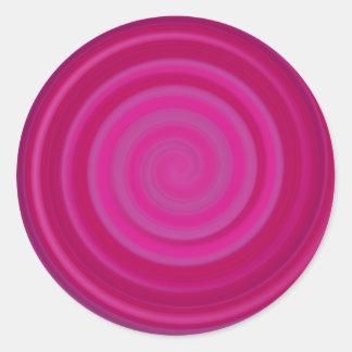 Retro Candy Swirl in Plum Round Sticker