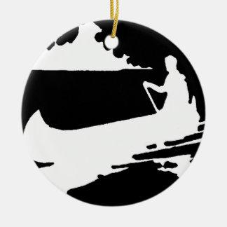 Retro Canoe Silhouette Christmas Ornament