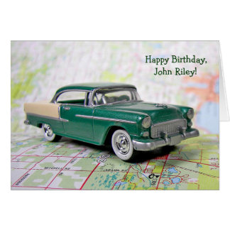 retro Car on road map for birthday Card
