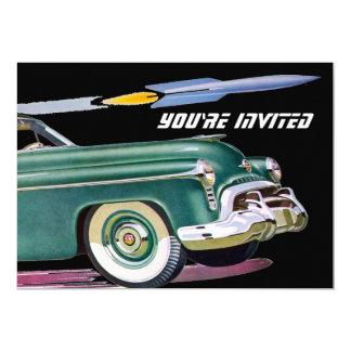 Retro Car & Rocket Birthday 13 Cm X 18 Cm Invitation Card