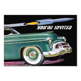 Retro Car & Rocket Birthday V2 9 Cm X 13 Cm Invitation Card