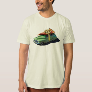 Retro Car with Pizza Slice on Roof Tee Shirts