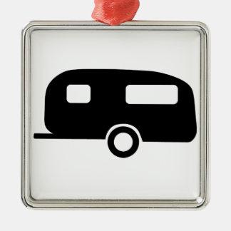 Retro Caravan Silver-Colored Square Decoration