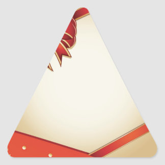 Retro card with red bow triangle sticker