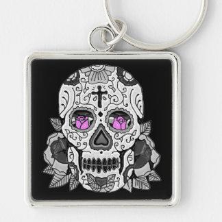 Retro Carnival Sugar Skull ANY CUSTOM COLOR Silver-Colored Square Key Ring