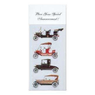 RETRO CARS 2 , AUTO RESTORATION ,blue white 10 Cm X 24 Cm Invitation Card
