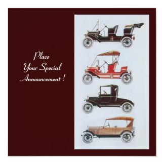 RETRO CARS 2 , AUTO RESTORATION ,blue white brown 5.25x5.25 Square Paper Invitation Card