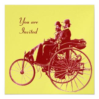 """RETRO CARS 2 , AUTO RESTORATION ,yellow gold brown 5.25"""" Square Invitation Card"""