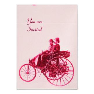 "RETRO CARS AUTO RESTORATION gold red fuchsia pink 5"" X 7"" Invitation Card"