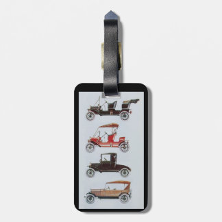 RETRO CARS , black white red Tags For Luggage