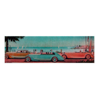 RETRO CARS , blue green pink red Print