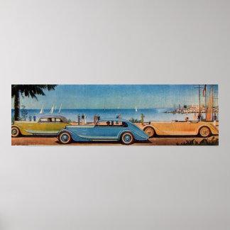 RETRO CARS , blue yellow orange Print