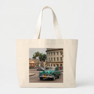 Retro cars on the Havana street Tote Bag