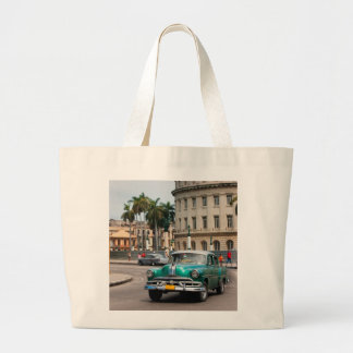 Retro cars on the Havana street Large Tote Bag