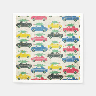 Retro Cars with Christmas Trees on Top Paper Napkin
