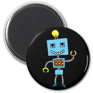 Retro cartoon blue robot magnet