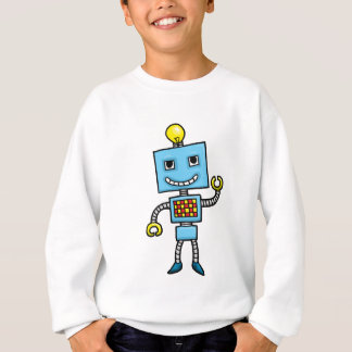 Retro cartoon blue robot sweatshirt