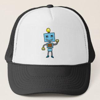 Retro cartoon blue robot trucker hat