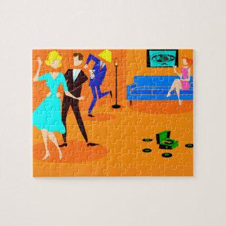 Retro Cartoon Cocktail Party Jigsaw Puzzle