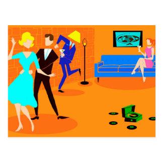 Retro Cartoon Cocktail Party Postcard