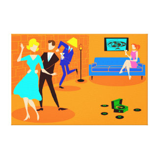 Retro Cartoon Cocktail Party Stretched Canvas Canvas Print