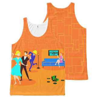 Retro Cartoon Cocktail Party Unisex Tank Top All-Over Print Tank Top