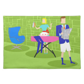 Retro Cartoon Couple at Home Placemat
