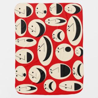 Retro Cartoon Faces Pattern Custom Baby Blanket