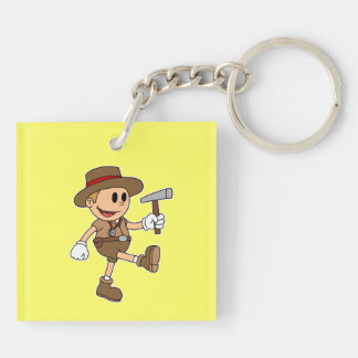 Retro Cartoon Geologist (Add Your Name) Key Chains
