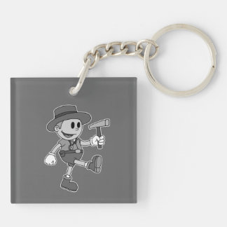 Retro Cartoon Geologist (Black and White) Square Acrylic Keychains