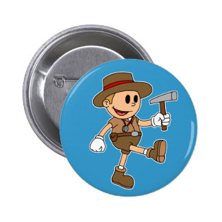 Retro Cartoon Geologist (Color) 6 Cm Round Badge