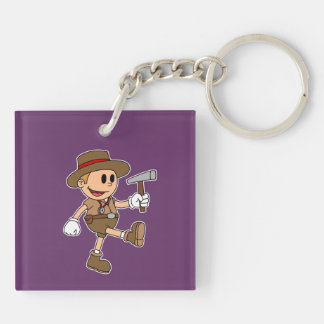Retro Cartoon Geologist Double-Sided Square Acrylic Keychain