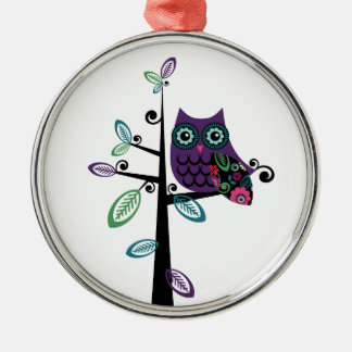 Retro Cartoon Owl in His Funky Tree Christmas Ornament