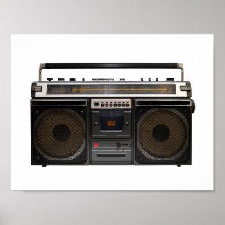 retro cassette player music hipster stereo tape poster