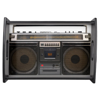 retro cassette player music hipster stereo tape serving tray