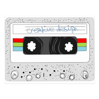 Retro cassette tape 80s style post cards
