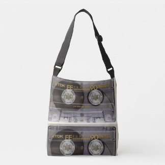 Retro Cassette Tape and Albums Crossover Bag