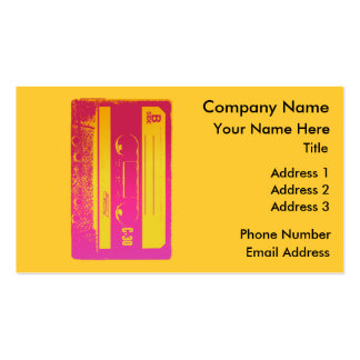 Retro Cassette Tape Design in Pink & Yellow Business Card Template