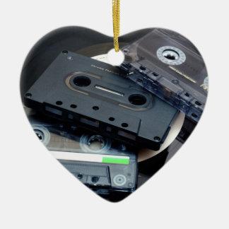 Retro Cassette Tapes Ceramic Heart Decoration