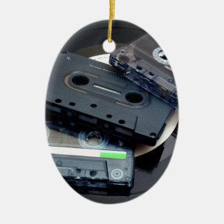 Retro Cassette Tapes Ceramic Oval Decoration