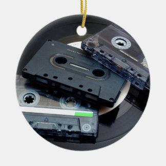 Retro Cassette Tapes Round Ceramic Decoration