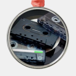 Retro Cassette Tapes Silver-Colored Round Decoration