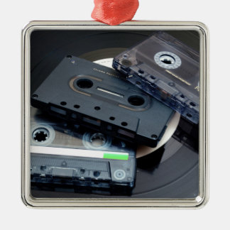 Retro Cassette Tapes Silver-Colored Square Decoration