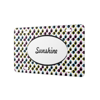 Retro Cat Sunglasses Pattern License Plate
