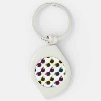 Retro Cat Sunglasses Pattern Silver-Colored Swirl Key Ring