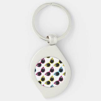Retro Cat Sunglasses Pattern Silver-Colored Swirl Key Ring