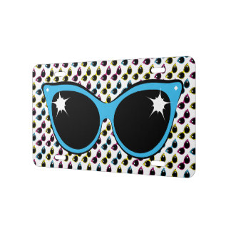 Retro Cat Sunglasses Pattern with Blue License Plate