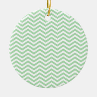 Retro Celadon Chevron; zig zag Round Ceramic Decoration