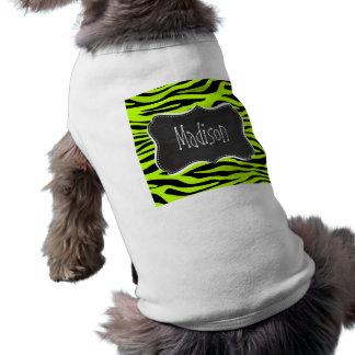Retro Chalk Chartreuse Zebra Stripes Animal Print Sleeveless Dog Shirt