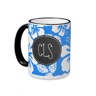 Retro Chalkboard; Azure Blue Tropical Hibiscus Ringer Coffee Mug